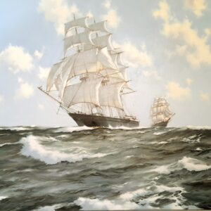 """The Fychow"" 3 masted tall ship in full sail"